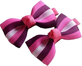Angel Closet Striped Bow Hair Clips for Girls - Pink/Purple