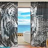yibaihe Fenster Vorhänge, Gardinen Platten Fenster Behandlung Set Voile Drapes Tüll Vorhänge Schwarz und Weiß Fierce Tiger 139,7cm W x 198,1cm L 2Einsätze für Wohnzimmer Schlafzimmer Girl 's Room
