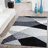T&T Design Moderner Hochflor Teppich Shaggy Vigo Gemustert in Schwarz Grau Weiß Top Preis!!, Größe:140x200 cm