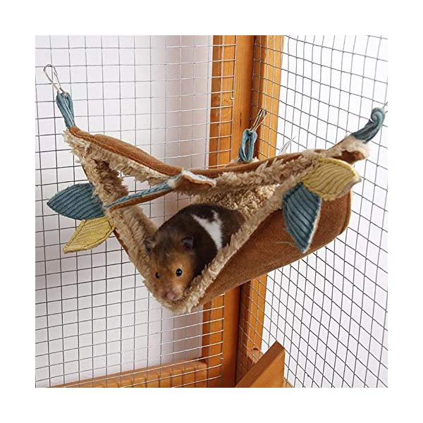 HUVE Flying Squirrel Warm Hammock - Cotton Hanging Bed Nest For Hamster Golden Hamster For Small Pet Chinchilla Rabbit Guinea Pig Playing Sleeping HUVE ▶Made of high quality materials, it is durable and practical. ▶Made of super soft velvet, it is comfortable and comfortable and warm. ▶Small pet hammock warm bed double layer squirrel mat for hamster squirrel guinea pig. 3