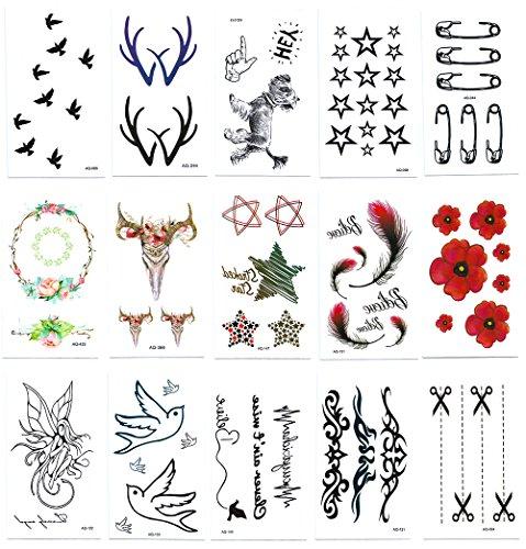 Chileeany set di 15 fogli tatuaggi temporanei,impermeabile tatuaggio temporaneo 105×60mm
