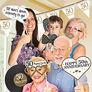 Amscan - 9902222 brillante Golden aniversario foto Prop Kit