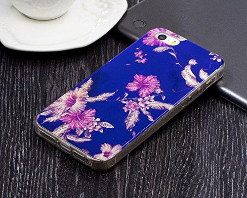 """iPhone 5s Hülle, Luxus Blau Kristall CLTPY iPhone SE Ultra Slim Dünn Weichsilikon Cover Bunt Retro Blumemuster Schutz-etui Stoßdämpfung & Kratzfeste Schale für 4.0"""" Apple iPhone 5/5s/SE + 1 x Stift -  Azalee"""
