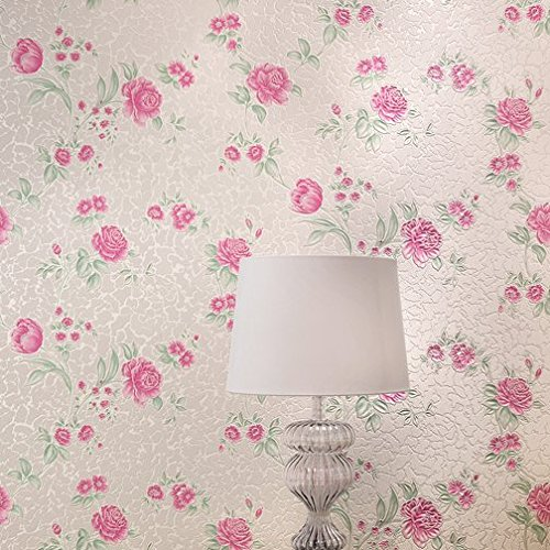 Xiajingjing Solid Gold Non Woven Wallpaper Warm Pink Peony Garden Purple Bedroom Living Room Hotel Wall WallpaperRose RedOnly The