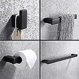 Turs 4-Piece Set accessorio da bagno SUS 304 acciaio inox carta igienica portasciugamani asciugamano bar accappatoio asciugamano anello porta rack supporto a parete, nero opaco finitura, N1009BK