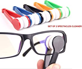 Snazzynest Pack of 2 Pcs Mini Eyeglass and Sunglass Microfiber+Plastic Spectacles Cleaner Brush 7.5x2cm/3x0.78inch Assorted Color