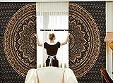 Indische Vorhänge, Ethnisch, Schwarz, Gold, Ombre-Mandala-Decor, Mandala-Wandbehang, Meditations-Design, rund, Wohnzimmer, Kinder- und Mädchen-Zimmer, 2er-Set, 208,3x 208,3cm