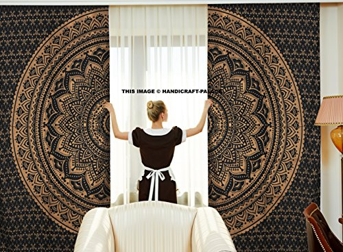 Ethnic Indian black gold curtains shadows Decor mandala