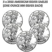 5 monedas de plata American Silver Eagle 2018