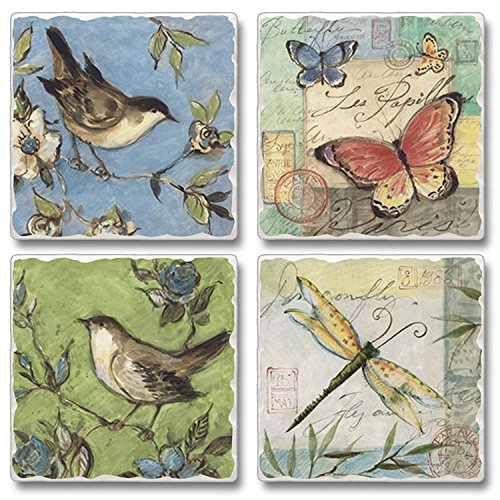 Nature Walk Birds Butterflys Dragonflys Flowers Absorbent Coasters Set of 4 by Highland Graphics -