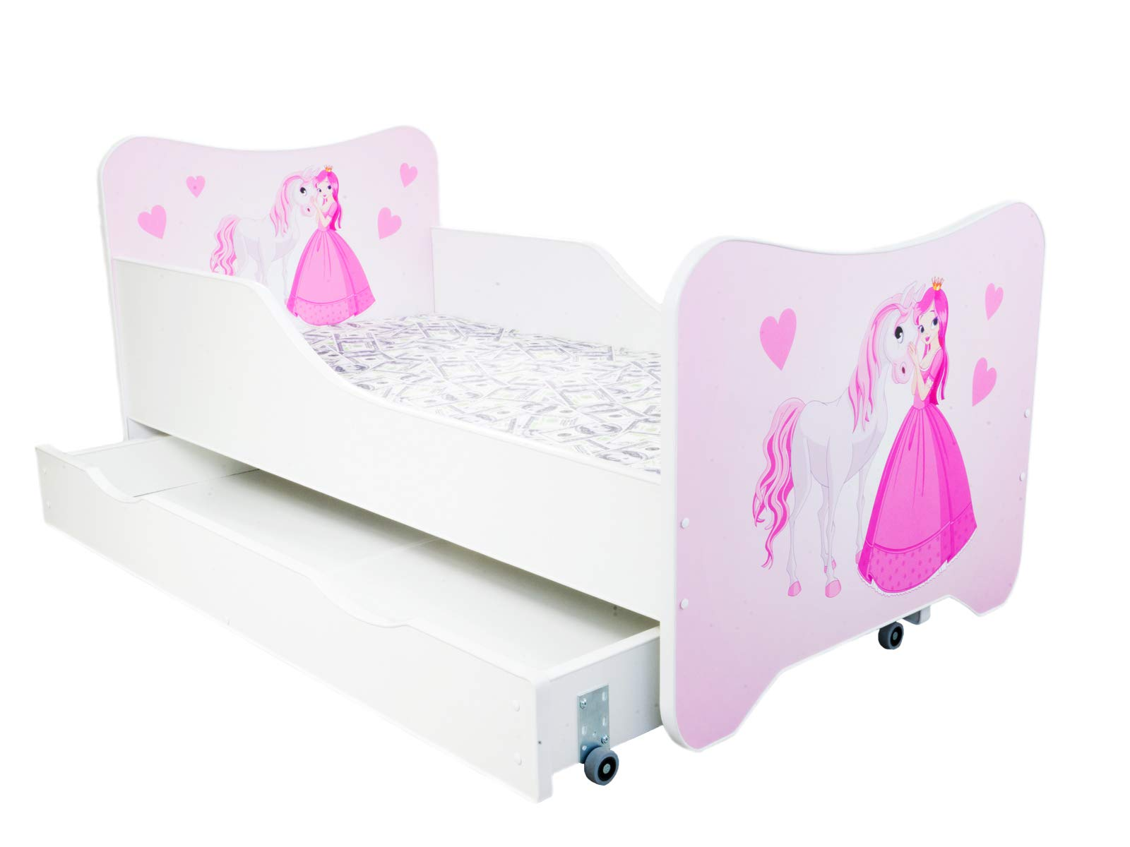 "Toddler Children Kids Bed Including Mattress + Drawer 160x80!! 30 Designs!!! (Princess and Horse) Topbeds TODDLER BED - perfect transition from cot to the first ""big"" bed HIGH QUALITY - made in EU. Quality controlled at each stage of production. Made out of high quality MDF which makes bed sturdy and lightweight at the same time. Wooden sprung slats included. SAFETY - low from the ground construction makes it easy for kids to climb in and out. Edges covered with soft PCV. Higher sides of the bed protect your kid from falling off. Furniture board finished with a non-toxic coating. Holds up to 150 kg. 2"