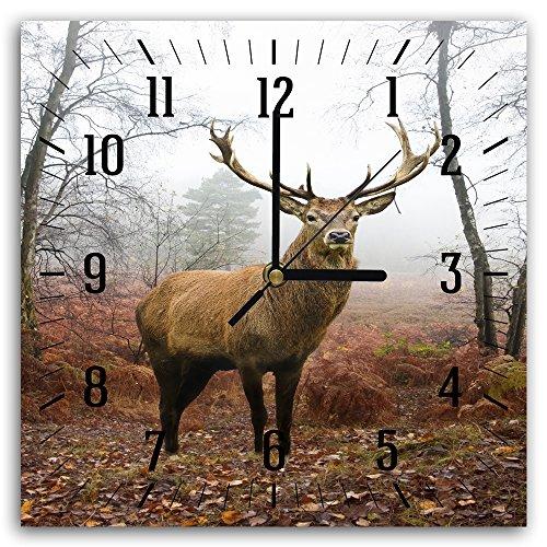 Feeby, Wanduhr, mehrfarbige Deco Panel Bild mit Uhr, 30x30 cm, HIRSCH, TIER, GEWEIH, WALD, BÄUME, BRAUN