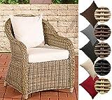 CLP Polyrattan-Sessel FARSUND Inklusive Sitzkissen I Robuster Gartenstuhl mit Einem Untergestell aus Aluminium I in Verschiedenen Farben erhältlich Rattan Farbe Natura, Bezugfarbe: Cremeweiß