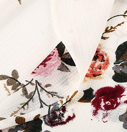 MIOIM Robe Femmes Plage Robes Longues Boho Maxi Bodycon Party Soirée Patchwork Blanc