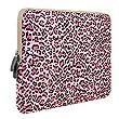 Plemo Laptop Hülle, Notebooktasche Sleeve Tasche für 15-15,6 Zoll (38,1-39,6 cm) Laptop / Notebook Computer - Leoparden-Spots aus Canvas-Gewebe Rosa