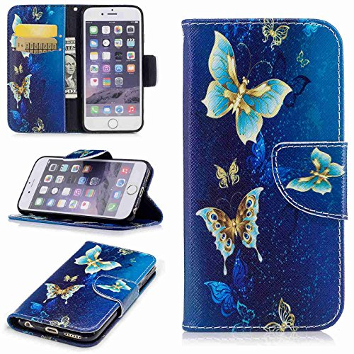 TOYYM iPhone 6s Plus 5,5Zoll Hülle,iPhone 6 Plus Lederhülle,Ultra Dünn Flip PU Leder Cover Wallet Brieftasche Case [Card Holder][Standfunktion][Magnetverschluss],Kreativ Embossed Muster Bookstyle Foli Blau Schmetterling