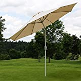 Mendler Alu Sonnenschirm Gartenschirm N18 270cm, neigbar, rostfrei ~ creme