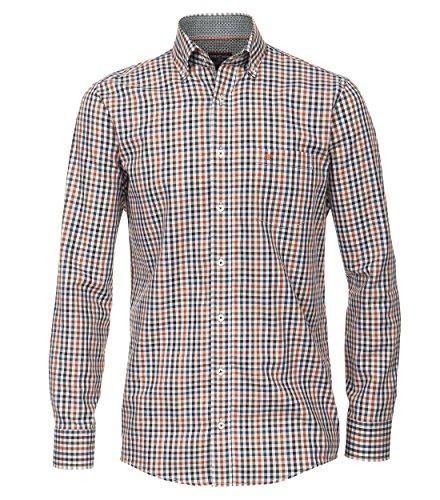 Casa Moda - Comfort Fit - Herren Freizeit Hemd mit Button-Down Kragen und Karo Muster, auch große Größen (462548100A) Orange (450)
