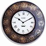 Craftel Roman Zodiac Rashi Handcrafted Brass Antique, Decorative Wooden & Vintage Analogue Wall Clock For Living Room, 12 X 12-inches(Antique Gold)