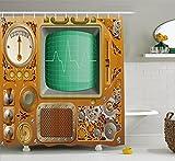 JAMES STRAIN Copper Decor Shower Curtain, Industrial Victorian Style Grunge Steampunk Theme TV Gauger Clockwork, Fabric Bathroom Decor Set with Hooks, 75 inches Long, Orange Green Silver