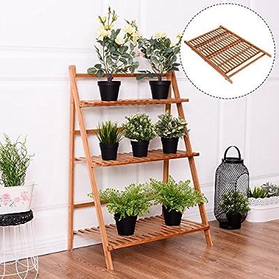 Costway 3 Tier Folding Bamboo Stand Flower Plant Pot Display Shelf Ladder Garden Outdoor - cheap UK light store.
