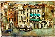 Pitaara Box Romantic Venice D5 Canvas Painting Mdf Frame 24.1 X 16Inch