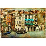 Pitaara Box Romantic Venice D5 Canvas Painting MDF Frame 21.1 X 14Inch