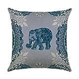 hengjiang Kissen rot blau pink Ethnische indischen Elefanten Gemälde 120g Dicke Baumwolle Leinen doppelseitig 45,7x 45,7cm 45x 45cm Überwurf Kissen für Home Sofa Bett Deko 03 Blue