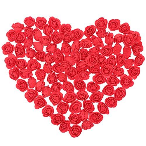 Amosfun 500 stücke Künstliche Schaum Rose Köpfe für Hochzeit DIY Bouquets Party Tabelle mittelstücke Dekorationen 3,5 cm (Rot)