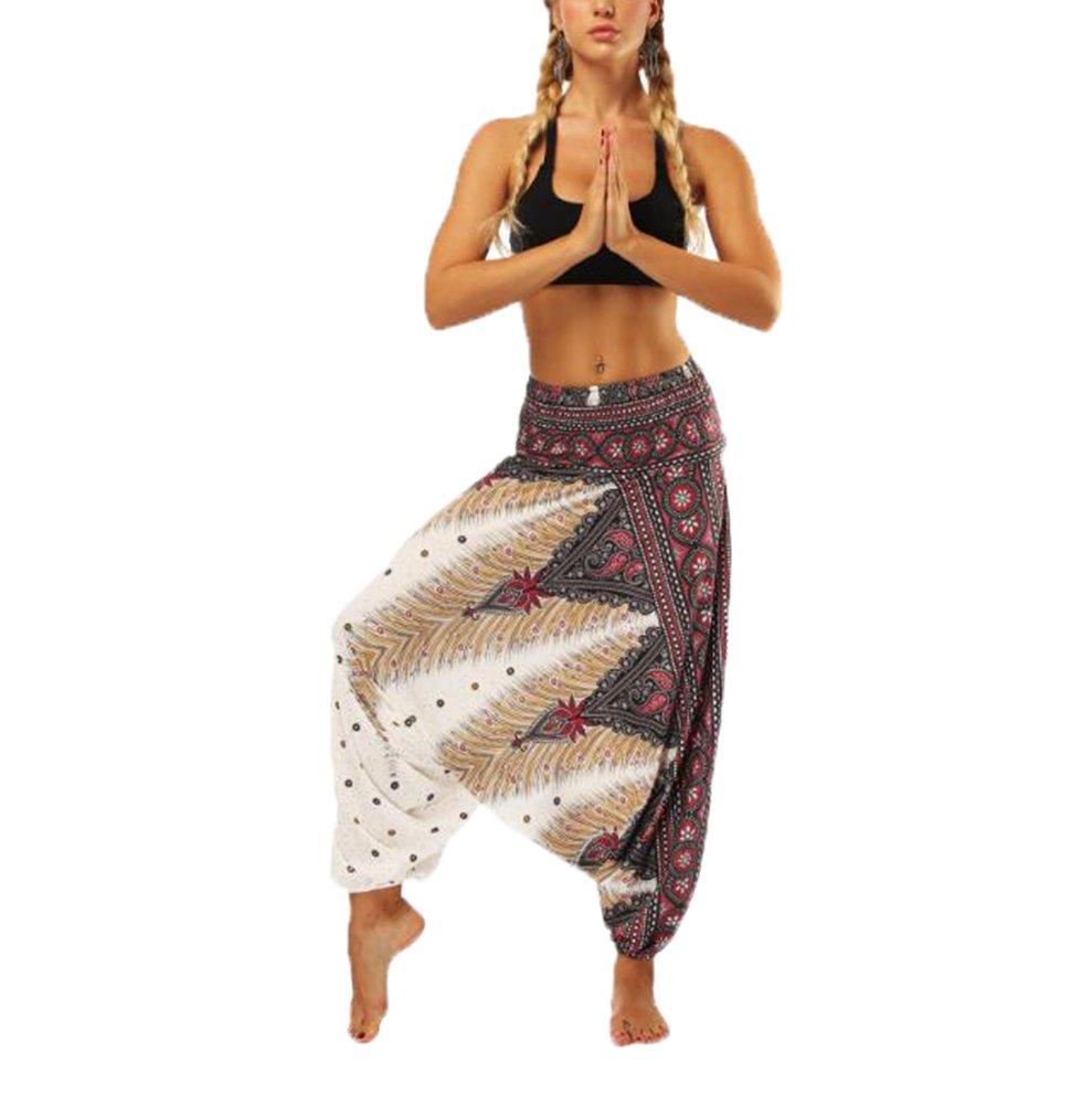 Hellomiko Pantalones Harem paracaidistas Thai Cargo Boho Pantalones Hippie Baggy Yoga Globo Loose Gypsy Aladdin Bloomer Pantalones Ropa para Hombres Mujeres