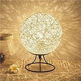 LED-Lampe Handgewebte Bunte Kugel-förmigen Rattan Tischlampe Schlafzimmer Nachttisch Nachtlicht Kreative Fernbedienung LED Rattan Rattan Leinen Schnur Rattan Ball Geburtstagsgeschenk Lampe,White