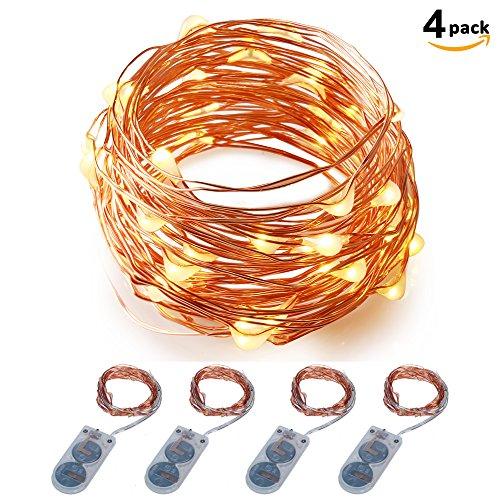 Lichterkette Batteriebetrieben ITART 20LEDs Deko Lichterkette Weihnachtsbeleuchtung Deko Weihnachten Party Ambientebeleuchtung 2M (4er) (Warmweiß) (Camp Lichter String)