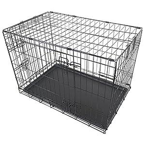 "Black Metal Folding 30"" Pet Crate Dog Crate Cage Transport"