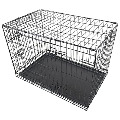 "Black Metal Folding 30"" Pet Crate Dog Crate Cage Transport"