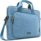 Evecase 14-Inch Classic Padded Briefcase Messenger Bag with Shoulder Strap and Handle for Laptop Notebook Ultrabook Chromebook Computer - Blue