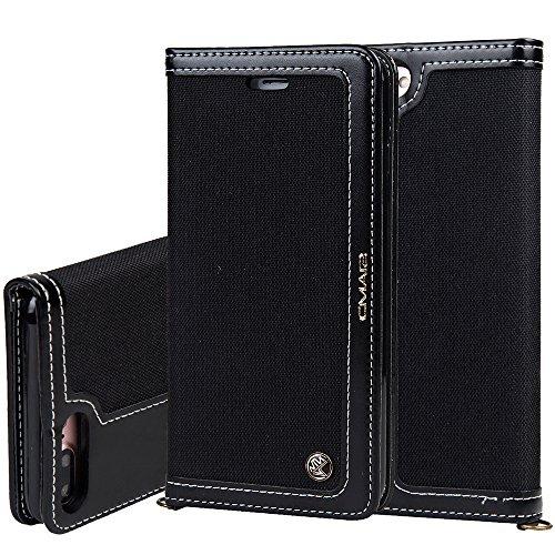 """Preisvergleich Produktbild Apple iPhone 6Plus /6s Plus 5,5"""" Leder Hülle Flip Case Handytasche und Brieftasche mit Standfunktion Kredit Karten Fach mit Unsichtbarem Magnet,Schwarz"""