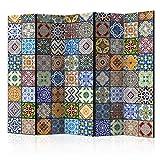 murando Raumteiler Mandala Ornament Oriental Foto Paravent 225x172 cm beidseitig auf Vlies-Leinwand Bedruckt Trennwand Spanische Wand Sichtschutz Raumtrenner bunt blau gelb f-B-0009-z-c
