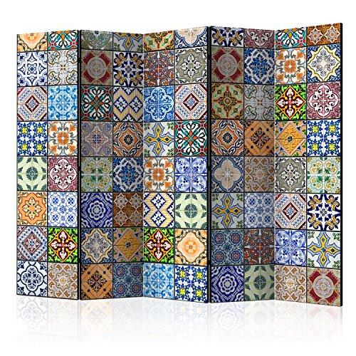 *murando Raumteiler Mandala Ornament Oriental Foto Paravent 225×172 cm beidseitig auf Vlies-Leinwand Bedruckt Trennwand Spanische Wand Sichtschutz Raumtrenner bunt blau gelb f-B-0009-z-c*