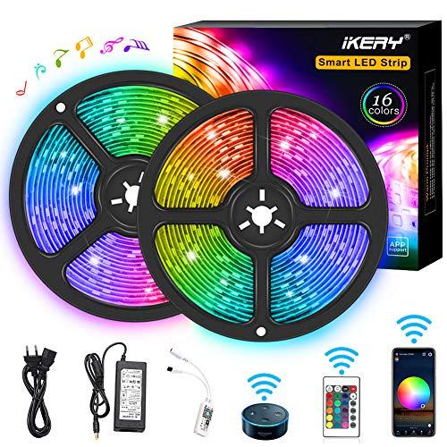 Striscia LED RGB 10 Metri Impermeabile IP65, Sync con Musica, Smart Telefono App Controllato LED Band, Compatibile con Alexa