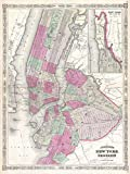 Buyartforless 1866 Karte von NYC und Brooklyn 24 x 18 Art Print Poster Vintage Map New York City hergestellt in den USA