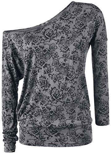 Black Premium by EMP Skull & Roses Manica lunga donna antracite XS