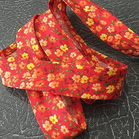 Colour Red 2204 Patterned alta qualità per sbieco, larghezza 25 mm, 100% cotone, ottima sensazione morbida, venduto al metro