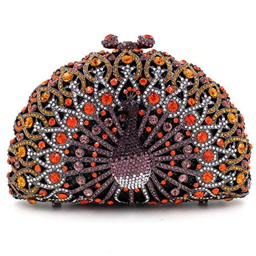 Santimon Donna Pochette Borsa Lusso Diamante Cristallo Pavone Borse Da Festa di Nozze Sera Con Tracolla Amovibile e Pacco Regalo 13 Colori arancione