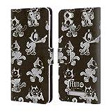 Head Case Designs Offizielle Felix The Cat Schwarz Und Grau Muster Leder Brieftaschen Huelle kompatibel mit Wileyfox Spark X