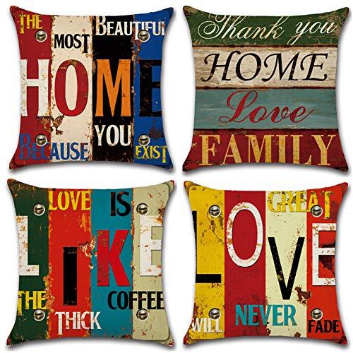 Soleebee 4er-Set Baumwolle Leinen Kissenbezug Auto Kissenbezüge Kissenhülle Dekorativ Set Kissen Fall für Sofa Schlafzimmer, 45 x 45 cm (Home/Love) -