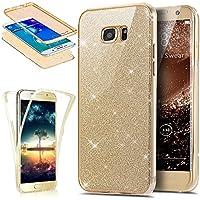 Funda para Galaxy S6 Edge Plus, ikasus [cobertura de protecci 360 de cuerpo entero] cristal transparente 2 en 1 ultrafino con lentejuelas brillantes en la parte de atrás, funda de goma cobertura completa suave de silicona transparente TPU para Samsung Galaxy S6 Edge Plus, dorado