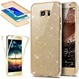 Coque Galaxy S7 Edge,Etui Galaxy S7 Edge,Intégral 360 Degres avant + arrière Full Body Protection Bling Brillant Glitter Transparent Silicone Gel Case Coque Housse Etui pour Galaxy S7 Edge,Or