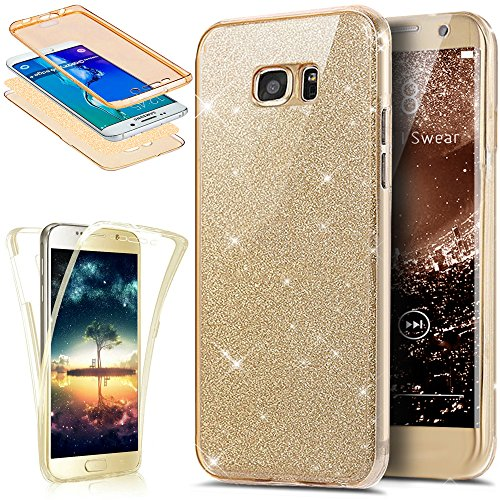 Cover galaxy s7 edge, custodia galaxy s7 edge, ikasus® custodia silicone protettiva a 360 gradi anteriore + indietro piena copertura brillante luccichio bling custodia cover per samsung galaxy s7 edge custodia cover [crystal tpu] [shock-absorption] protettiva trasparente ultra sottile silicone gel cover custodia chic crystal clear case super sottile bumper case custodia cover per samsung galaxy s7 edge - oro