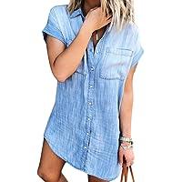 Minetom Vestiti Jeans Donna Estivi Vestiti Camicia Donna Maniche Corte Estate Blu Casual Vestito Scoll A V Camicia…