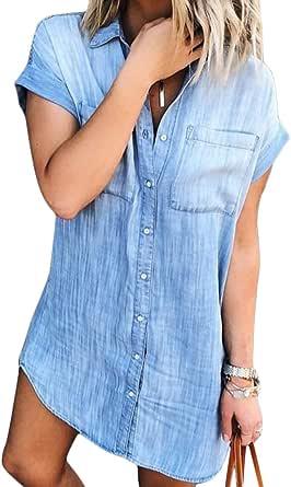 Minetom Vestiti Jeans Donna Estivi Vestiti Camicia Donna Maniche Corte Estate Blu Casual Vestito Scoll A V Camicia Vestito Denim Vestiti Irregolare Orlo
